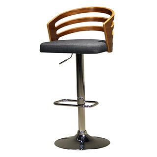 Modern Black Upholstered Adjustable Barstool