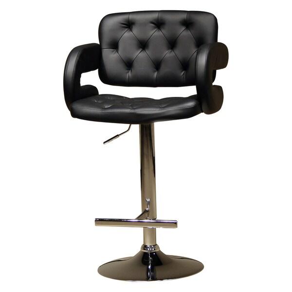 Modern Black Adjustable Button Tufted Upholstered Barstool