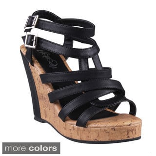 Refresh Women's Delta-02 Ankle Strappy Cork Wedge Sandals