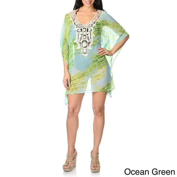 Spiaggia Dolce Women's Tie-dye Crochet-front Caftan Top