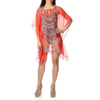 CZ Women's Tribal Placement Print Georgette Caftan Swim Cover Up