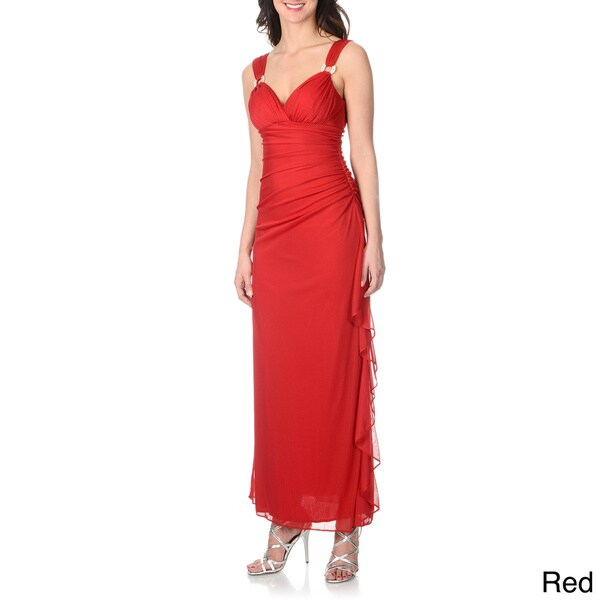 Betsy & Adam Women's Rhinestone Embellished Red Extended Shoulder Gown