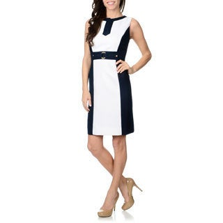 Tahari Arthur S. Levine Women's Textured Colorblock White/ Navy Sheath Dress