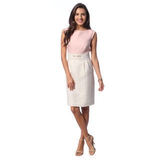 Tahari Arthur S. Levine Women's Houndstooth Colorblock Blush/ Beige Dress