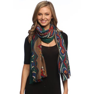 Tri-colored Paisley Damask Silky Scarf Wrap