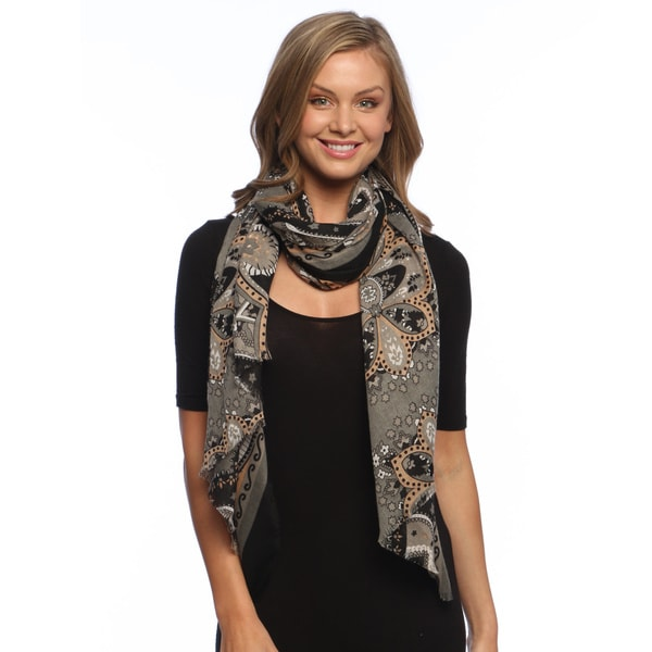 Grey/ Black Paisley Damask Silky Scarf Wrap