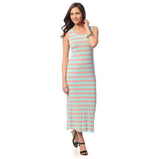 Hadari Women's Pink/ Teal Striped Sleeveless Maxi Dress