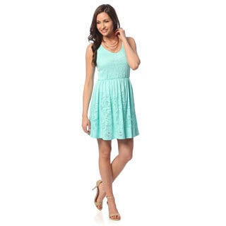 Hadari Womens' Aqua Damask-embossed Sleeveless Dress