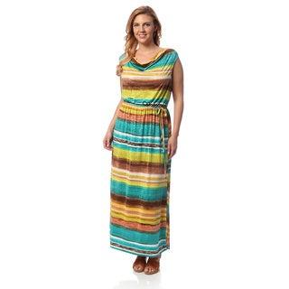 Hadari Women's Plus Blue Cowl Neck Maxi Dress