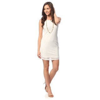 Hadari Women's White Keyhole Back Sleeveless Dress