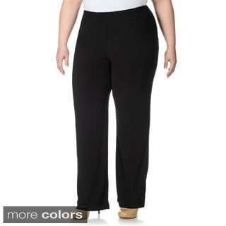 Lennie for Nina Leonard Women's Plus Size Thick Waist Band Pull-on Pants