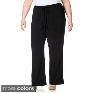 Lennie for Nina Leonard Women's Plus Size Drawstring Pull-on Pants
