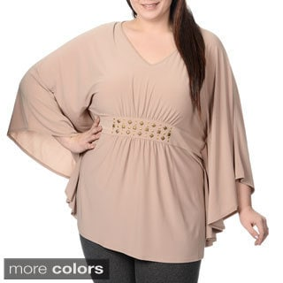 Lennie for Nina Leonard Women's Plus Size Embellished Waist Batwing Top