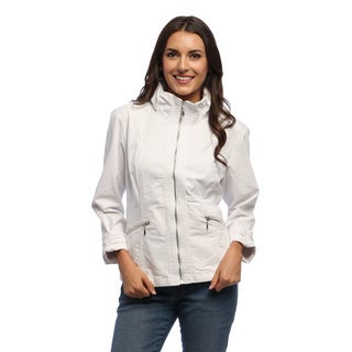 Live a Little Women's White Zip-front Gathered Collar Jacket