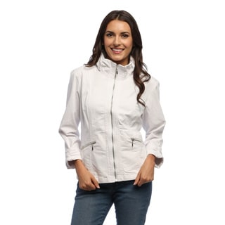 Women's White Zip-front Gathered Collar Jacket