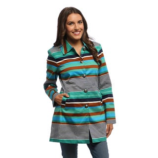 Women's Multicolored Striped Trench Coat