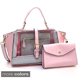 Two-tone Belted 2-in-1 Jelly Satchel Bag with Mini Bag