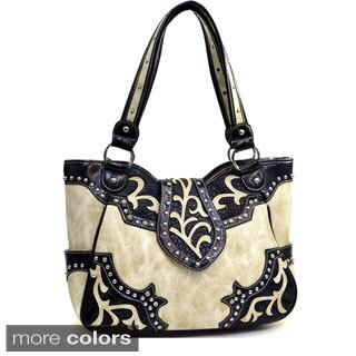 Rhinestone Studded Leaf Design Western Shoulder Bag