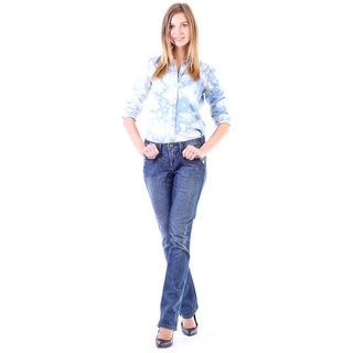 Stitch's Women's Worn-Out Denim Slimming Straight Leg Jeans