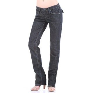 Stitch's Women's Dark Wash Denim Low Waist Straight Leg Jeans