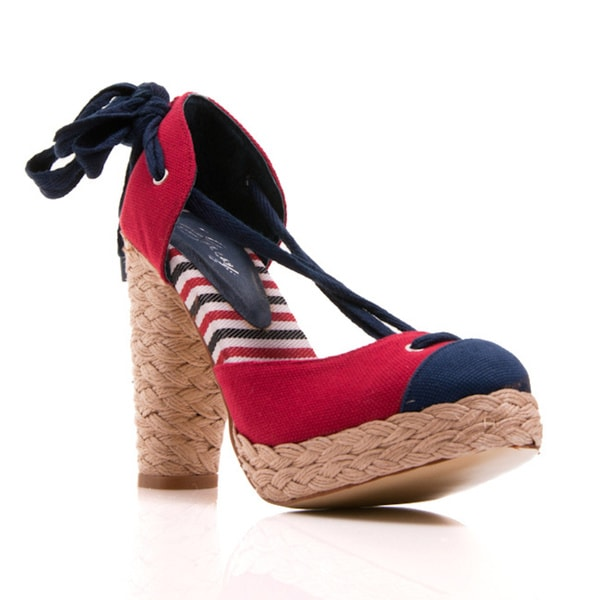 Nvy Ahoy Women's Nautical Tie Up Espadrille Platform Pump