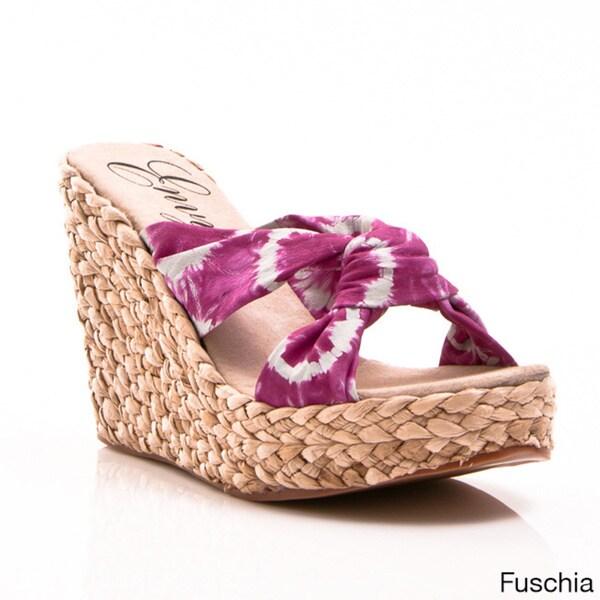 Nvy Angels Women's Tie Dye Slip-On Wedge Platform Sandals