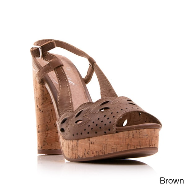 Nvy Women's Shoe Banked Cut-Out Slingback Open-Toe Cork Platform Sandal