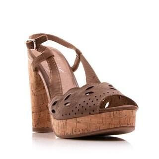 Nvy Women's Shoe Banked Cut-Out Slingback Open-Toe Cork Platform Sandal