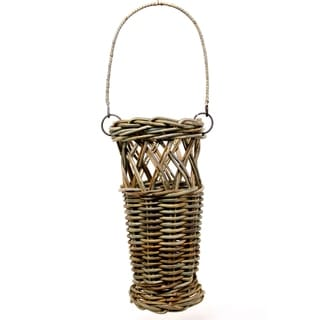 Tan Rattan Bucket Basket (Set of 2)