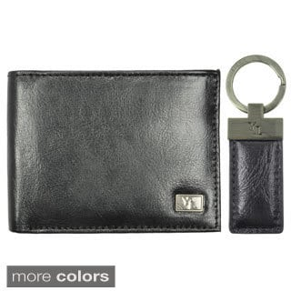 YL Fashion Men's Leather Bi-fold Wallet and Key Ring Gift Set