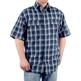 Case IH Men's Navy Plaid Short Sleeve Button Down Shirt