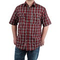 Case IH Signature Men's Red Plaid Short Sleeve Button Down