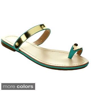 Wildrose Women's Burge SS06 Toe Ring Flat Sandals With Metallic Design