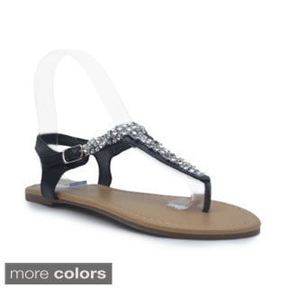 Blue Women's 'Rich' Rhinestone T-strap Sandals