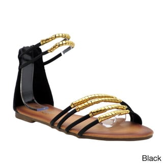 Blue Women's 'Rizzo' Metallic-wrapped Strappy Flat Sandals