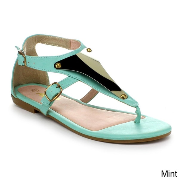 Anna Women's Vita-11 T-strap Ankle Strappy Metal Acent Flat Thong Sandals