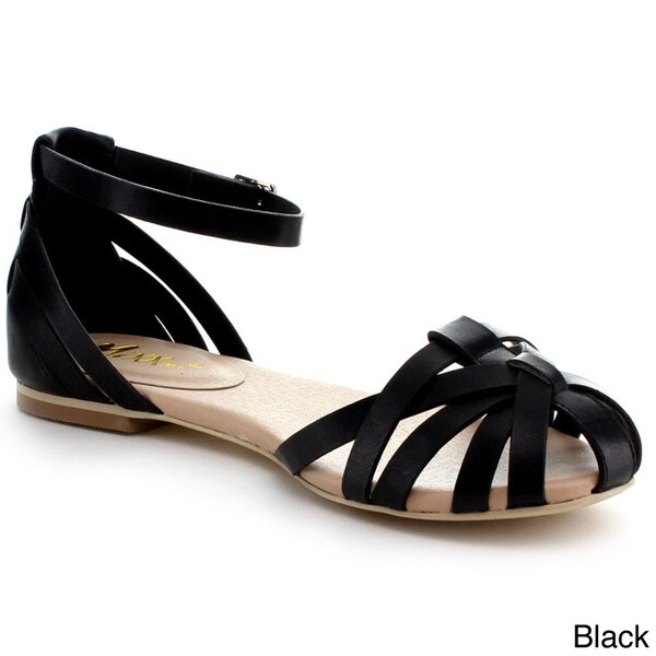 Mixx Shuz Women's 'Brady' Strappy Caged Vamp Buckle Ankle Strap Sandals