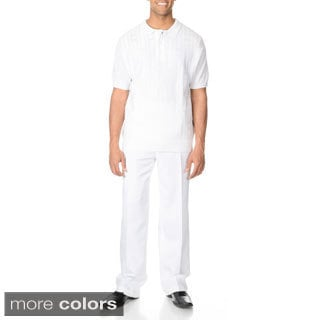 Steve Harvey Men's White 2-piece Knit Polo and Pant Set