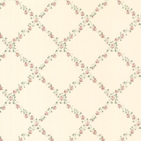 Contessa Red Lilac Trellis Wallpaper
