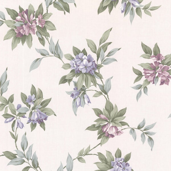 London Purple Hue Floral Trail Wallpaper