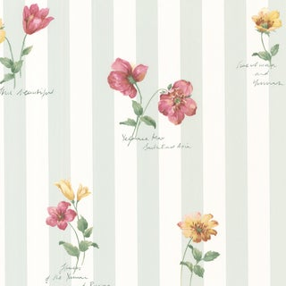 Syringa Floral Green Stripe Wallpaper