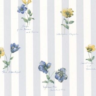 Syringa Floral Blue Stripe Wallpaper