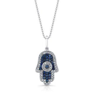 14k White Gold 1/4ct TDW White Diamond and Blue Sapphire Hamsa Pendant Necklace (J-K, I2-I3)