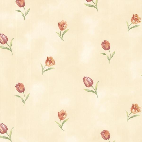 Rustic Beige Rose Toss Wallpaper