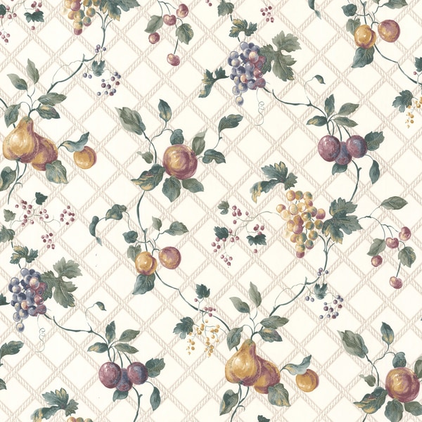 Magnolia White Harlequin Fruit Trail Wallpaper
