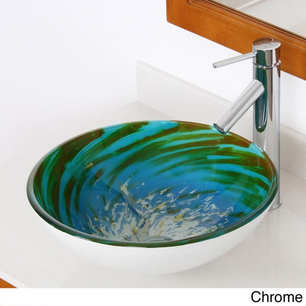 Elite Modern Swirl Tempered Glass Bathroom Vessel Sink with Faucet