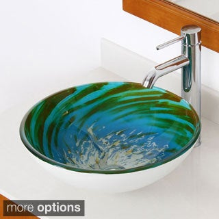 Elite Blue/ Green Modern Tempered Glass Bathroom Vessel Sink with Faucet