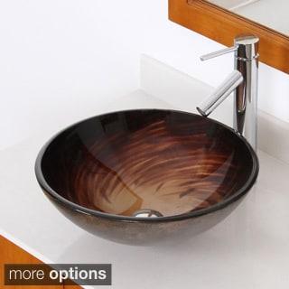 ELITE Modern Design Tempered Glass Bathroom Vessel Sink and Faucet