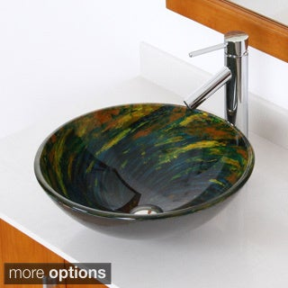 ELITE Modern Design Tempered Glass Bathroom Vessel Sink and Faucet