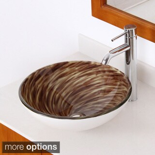 ELITE Modern Design Tempered Glass Bathroom Vessel Sink and Lever Faucet